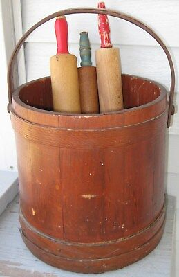 Antique Large Wooden Staved Firkin W/3 Fingerlap Nailed Bands, Handle, No Lid