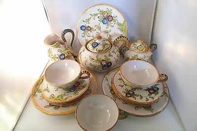 Vintage C. A. M. Made in Italy Art Pottery Tea Set Teapot Creamer Sugar Cups 174