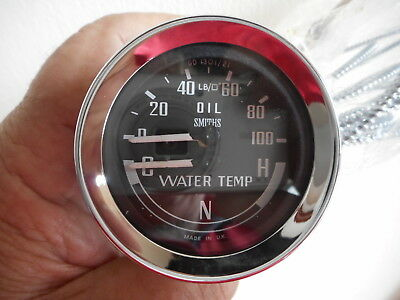 Smiths Dual Oil/Water Gauge Bha4900 Cold Normal Hot Mgb Midget Only £77.00
