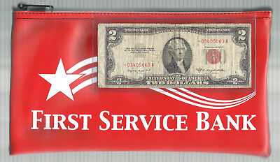 1953B $2 RED SEAL *STAR* & NEW BANK DEPOSIT BAG! Old US Paper Money!