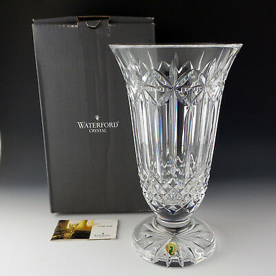 "Waterford Crystal 12"" Tall BALMORAL Footed Statement VASE Star Cuts Ireland Made"