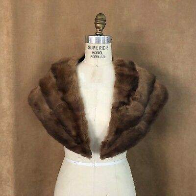 "Mink brown Vintage stole fur 38"" long women custom wrap coat collar mink cape"