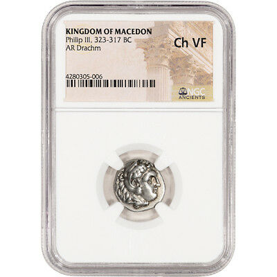 323 - 317 BC Kingdom of Macedon Philip III AR Drachm Ancient Silver - NGC Ch VF