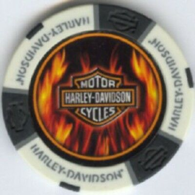 4 pc 4 colors HARLEY DAVIDSON FLAMES with values poker chip sample set #189B