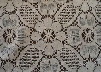 """Vintage English Embroidered Lace Table Runner Ecru Floral 43"""""""