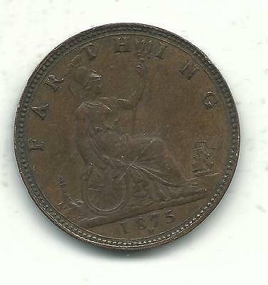 A High Grade Au 1875 H Great Britain Farthing Coin-Old English Piece-Apr156