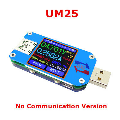 UM25 USB Typ C 3.7cm Farbe LCD Batterie laden Tester Spannung Strom Meter