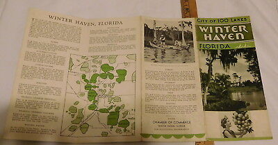 vintage City of 100 Lakes Winter Haven Florida Brochure