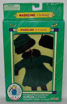 """Madeline 7 1/2"""" - 8"""" Doll Clothing Green Coat Muff Hat Tights Hanger New in Box!"""