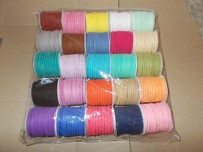 25 Rolls x 5m Faux Suede Cord String Flat 3mm x 1.5mm - 25 Assorted Colors S23
