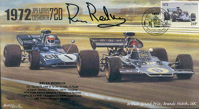 1972 JPS LOTUS 72D, TYRELL 003 BRANDS HATCH F1 cover signed BRIAN REDMAN