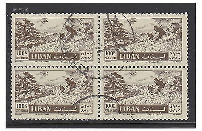 Lebanon - 1957, 100p Skiers stamp in a Block of 4 - F/U - SG 570