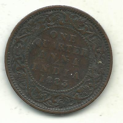 Very Nice Better Grade Vintage 1883 One Quarter Anna Coin-May534