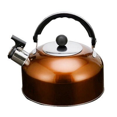 durable Whistling Kettle Steel Camping Kitchen Tea Coffee Water Pot orange