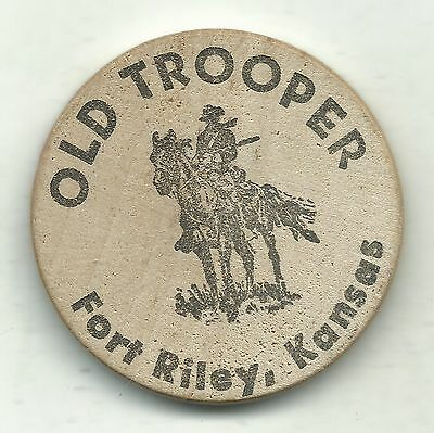 Very Nice Us Calvery Museum Fort Riley Kansas Old Trooper Wooden Nickel-Apr100