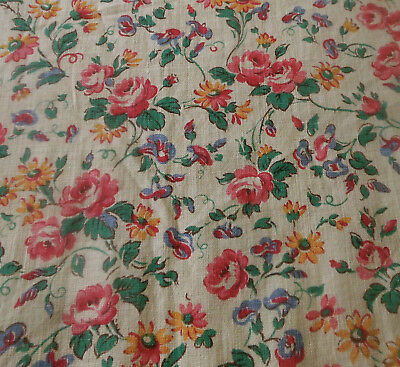 Antique French Roses Floral Cotton Fabric ~ Small Scale ~ Yellow Pink Blue Green