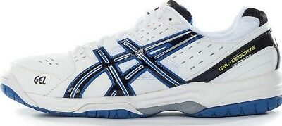 Mens White asics Gel Dedicate 3 Tennis court shoes trainers Size UK 8.5 10.5 11