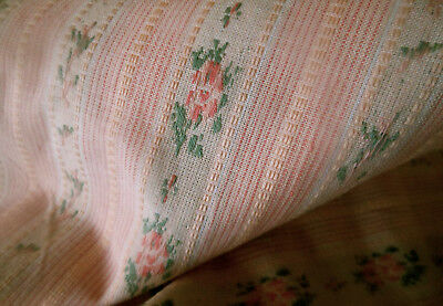 Vintage Pink Roses Lisere Brocade Fabric ~ French Style ~ dolls home pieces