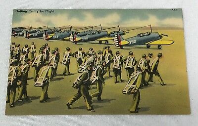 WWII US Army Getting Ready For Flight Post Card