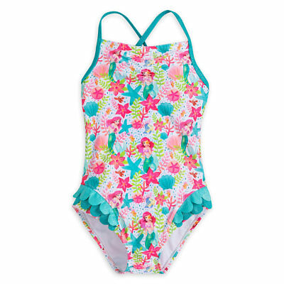 Disney Authentic Little Mermaid Ariel Deluxe Swimsuit for Girls Size 5/6 7/8 New