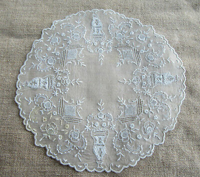 8 Antique Embroidered Organdy Roundels Doilies Incredibly Fine Urns & Flowers