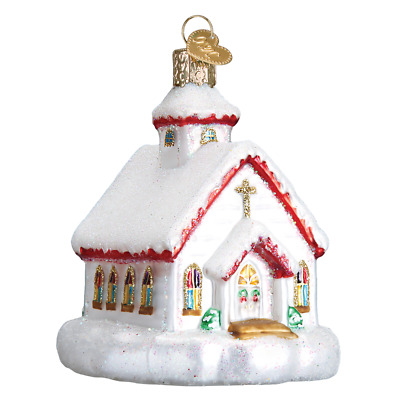 """Country Church"" (20095)X Old World Christmas Glass Ornament w/ OWC Box"