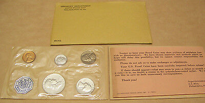 1961  US Mint 5 PC  Silver Coin Proof Set with COA