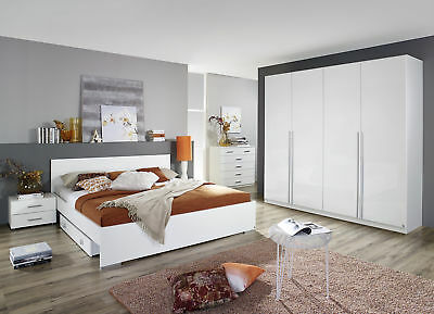 schlafzimmer set friedberg bett kleiderschrank nachtkommode in wei mit spiegel eur. Black Bedroom Furniture Sets. Home Design Ideas