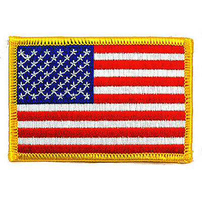 AMERICAN FLAG EMBROIDERED PATCH GOLD BORDER USA US United States QUALITY