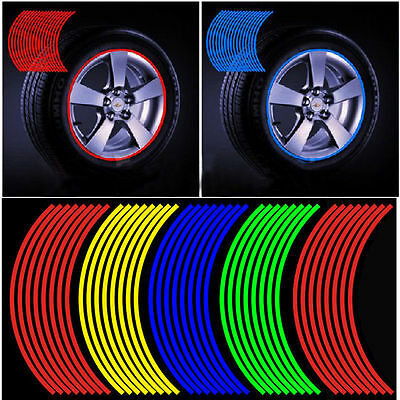 16 Strips Reflective Motorcycle Car Rim Stripe Wheel Decal Tape Sticker 7 Colors
