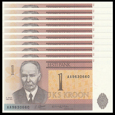 Lot 10 PCS, Estonia 1 Krooni, 1992, P-69, UNC