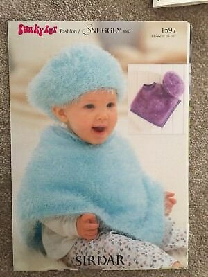 Sirdar Funky Fur Knitting Pattern 1597 Poncho And Beret 16 26