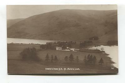 Tibbie's from South East, St Mary's Loch - old Selkirkshire real photo postcard