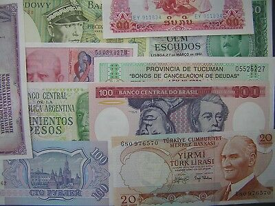 World Lot of 10 Different Notes, Crisp Uncirculated, Europe, Africa, Asia, etc