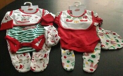 Santa's Baby My First Christmas Ho Ho Ho Cotton Romper 4 Piece Set New born 0-3
