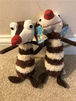 "2 x Ice Age 3 Character Crash/Eddie Soft Toys 6"" Excellent with Tags g20"