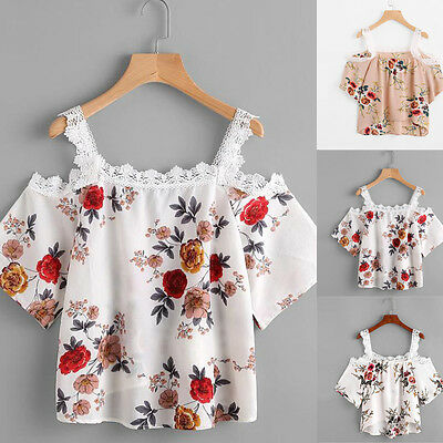 Fashion Women's Short Sleeve Off Shoulder Lace Floral Blouse Casual Tops T-Shirt