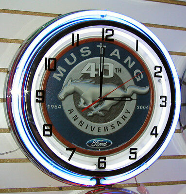 "Ford Mustang 40th Anniversary Large 18"" Blue Neon Clock"