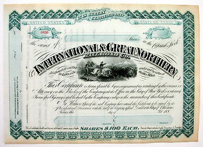 International Great Northern Texas RR Stock Cert 1880s