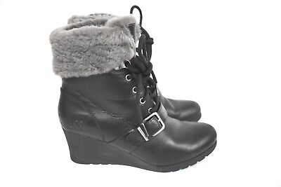 166837d3339 UGG WOMEN'S JANNEY Shearling Leather 1012527 All Weather Wedge Boots Black  8.5