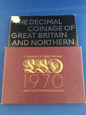 2 Sets Coinage Of Great Britain 1-1970 1-1971 Proof Sets