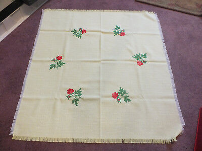 Beautiful Handmade Embroidered Tablecloth 30x30 Soft Yellow Red Roses Fringe WOW