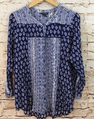49843c93ccd Lucky Brand tunic blouse womens 1X blue floral button up 3/4 slv boho  peasant