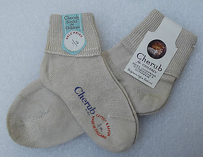 CHERUB short ankle socks Boys or girls Vintage 1950s UNUSED cotton/rayon BEIGE