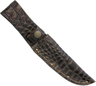 """Leather Sheath For Up To 5"""" Straight Fixed Blade Knife, Faux Crocodile, Sh1193"""