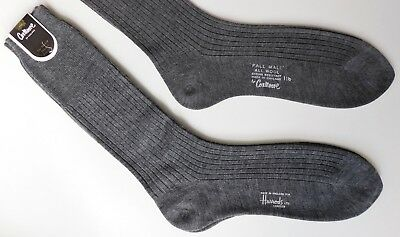 "Cox Moore mens grey socks Harrods Pall Mall Sock size 11 1/2"" All Wool vintage"