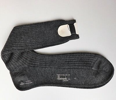 "Vintage mens wool socks Harrods with spare darning wool Sock size 11 1/2"" Grey"