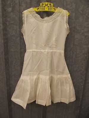 Vtg 1950s Pretty White Floral Embroidered Lace Circle Skirt Full Slip Girls 6-7
