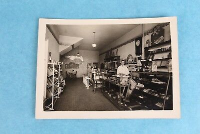 Vintage Antique Black & White Photo Of Old Soda Fountain Parlor Store Shop