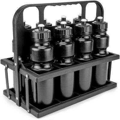 Collapsible Sports Drink Carrier with 8 Plastic 36 OZ Screw-top Squeeze Bottles